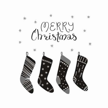 Hand drawn vector illustration of cute Christmas stockings, with lettering quote Merry Christmasr Isolated objects on white background. Flat style design. Concept for card, invite.