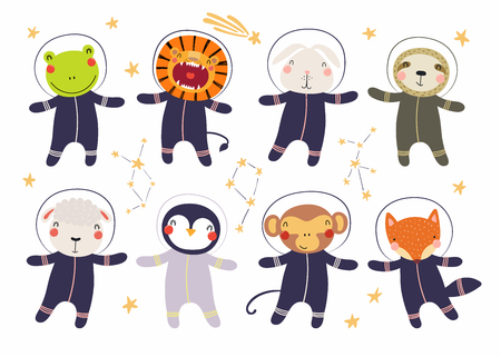 Set of cute funny animal astronauts in space suits, with stars. Isolated objects on white background. Hand drawn vector illustration. Scandinavian style flat design. Concept for children print.