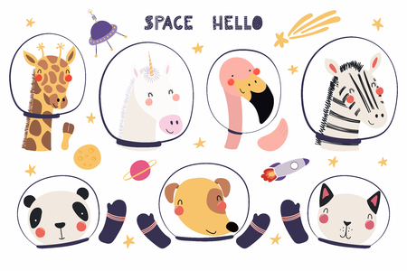 Set of cute funny animal astronauts in space helmets, with stars. Isolated objects on white background. Hand drawn vector illustration. Scandinavian style flat design. Concept for children print.  イラスト・ベクター素材
