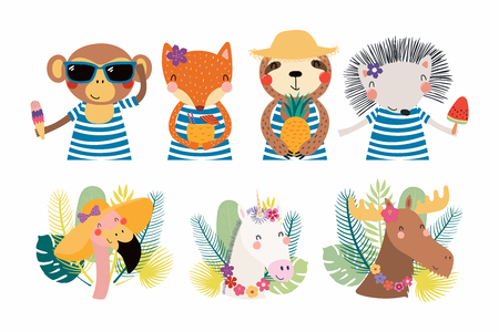 Set of cute funny summer animals in hats, sunglasses, with ice cream. Isolated objects on white background. Hand drawn vector illustration. Scandinavian style flat design. Concept for children print. Illustration