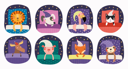 Set of cute funny sleeping animals in nightcap, with pillows, blankets. Isolated objects on white background. Hand drawn vector illustration. Scandinavian style flat design. Concept for children print Ilustrace
