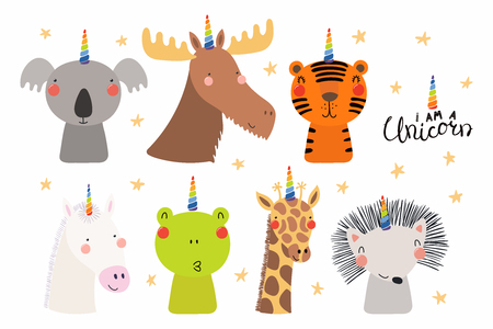 Set of cute funny animals with unicorn horns, quote I am a unicorn . Isolated objects on white background. Hand drawn vector illustration. Scandinavian style flat design. Concept for children print.