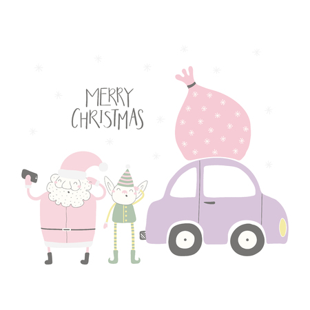 Hand drawn vector illustration of a cute funny Santa Claus, elf taking selfie, with car, sack, quote Merry Christmas. Isolated objects on white background. Flat style design. Concept for card, invite.