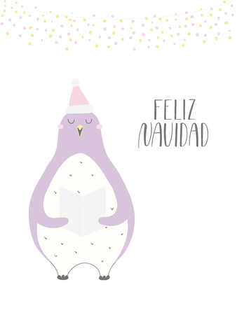 Hand drawn vector illustration of a cute funny singing penguin, with quote Feliz Navidad, Merry Christmas in Spanish. Isolated objects on white background. Flat style design. Concept for card, invite.