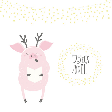 Hand drawn vector illustration of a cute funny singing pig, with quote Joyeux Noel, Merry Christmas in French. Isolated objects on white background. Flat style design. Concept Christmas card, invite. Illustration