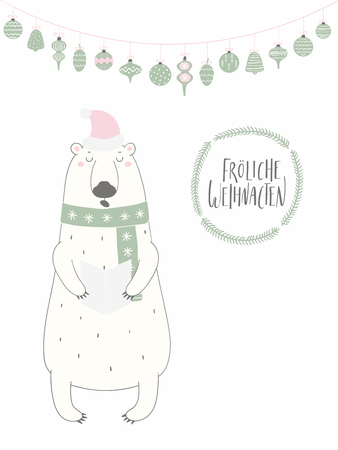 Hand drawn vector illustration of a funny singing polar bear, with quote Frohliche Weihnachten, Merry Christmas in German. Isolated objects on white background. Flat style design. Concept card, invite