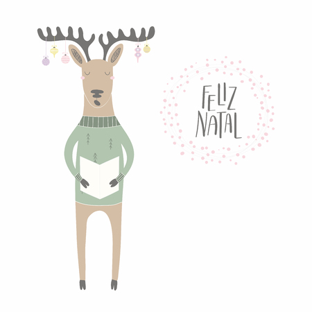 Hand drawn vector illustration of a cute funny singing reindeer , with quote Feliz Natal, Merry Christmas in Portuguese. Isolated objects on white background. Flat style design. Concept card, invite.