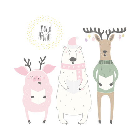 Hand drawn vector illustration of funny singing polar bear, pig, deer, with quote Buon Natale, Merry Christmas in Italian. Isolated objects on white background. Flat style design. Concept card, invite