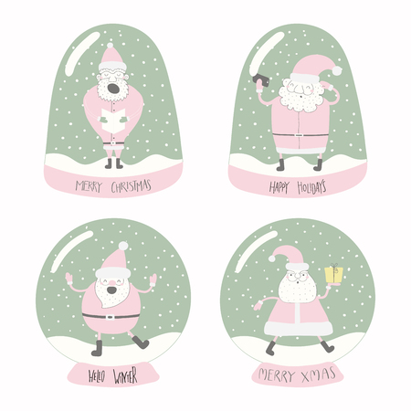 Set of snow globes with different Santa Clauses, with lettering quotes. Isolated objects on white background. Hand drawn vector illustration. Flat style design. Concept for Christmas card, invite.