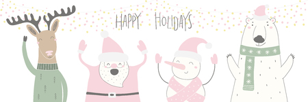 Hand drawn vector illustration of a cute funny Santa, deer, polar bear, snowman, with quote Happy holidays. Isolated objects on white background. Flat style design. Concept for Christmas card, invite.