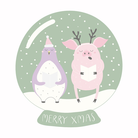 Hand drawn vector illustration of a cute funny penguin, pig, in a snow globe, with quote Merry Xmas. Isolated objects on white background. Flat style design. Concept for Christmas card, invite. Illustration