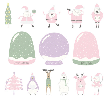Set of empty snow globes, funny characters. Isolated objects on white background. Hand drawn vector illustration. Flat style design. Diy creator. Element for Christmas card, invite.