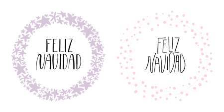 Hand written calligraphic lettering quotes Feliz Navidad, Merry Christmas in Spanish, in wreathes. Isolated objects on white background. Vector illustration. Design concept, element for card, invite. Archivio Fotografico - 112042650