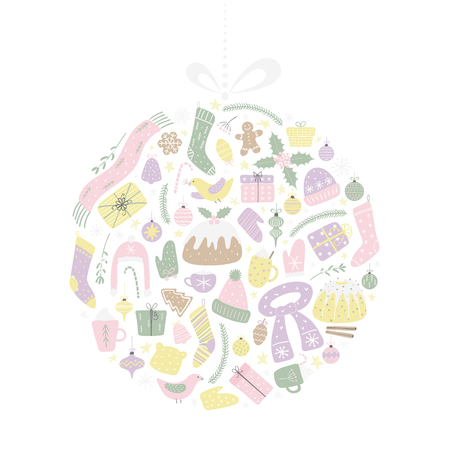 Hand drawn vector illustration of different Christmas elements in a circle design, hanging on a string. Isolated objects on white background. Flat style design. Concept for Christmas card, invite. Banque d'images - 112881308