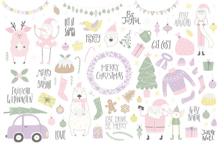 Big Christmas set with funny characters polar bear, pig, Santa, elf, snowman, tree, food, quotes. Isolated objects on white. Hand drawn vector illustration. Flat style design. Concept for card, invite