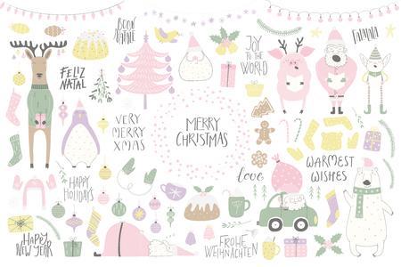 Gran Navidad con personajes divertidos oso, pingüino, reno, cerdo, Santa, elfo, árbol, comida, citas. Objetos aislados en blanco. Ilustración de vector dibujado a mano. Diseño de estilo plano. Invitación de tarjeta de concepto