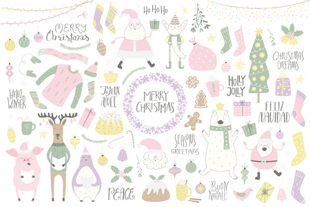 Big Christmas set with cute characters polar bear, penguin, reindeer, pig, Santa, tree, food, quotes. Isolated objects on white. Hand drawn vector illustration. Flat style design. Concept card, invite