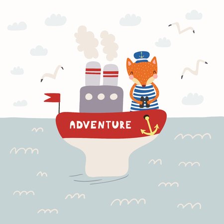 Hand drawn vector illustration of a cute funny fox sailor on a steamboat. Childish ocean landscape with seagulls, clouds, waves. Scandinavian style flat design. Concept for children print.