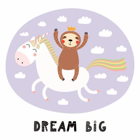 Handgezeichnete Vektorgrafik eines niedlichen lustigen Faultiers, das ein Einhorn in den Himmel fliegt, mit Zitat Traum groß. Isolierte Objekte auf weißem Hintergrund. Flaches Design im skandinavischen Stil. Konzept für Kinderdruck
