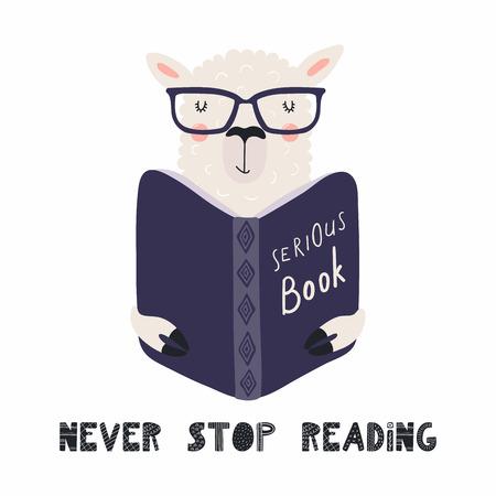 Handgezeichnete Vektorgrafik eines niedlichen lustigen Lamas, das ein Buch liest, mit Zitat Nie aufhören zu lesen. Isolierte Objekte auf weißem Hintergrund. Flaches Design im skandinavischen Stil. Konzept für Kinderdruck.