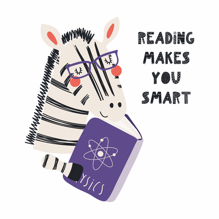 Ręcznie rysowane wektor ilustracja ładny zabawny zebry czytając książkę, z cytatem czytanie sprawia, że jesteś inteligentny. Pojedyncze obiekty na białym tle. Płaska konstrukcja w stylu skandynawskim. Koncepcja druku dzieci. Ilustracje wektorowe