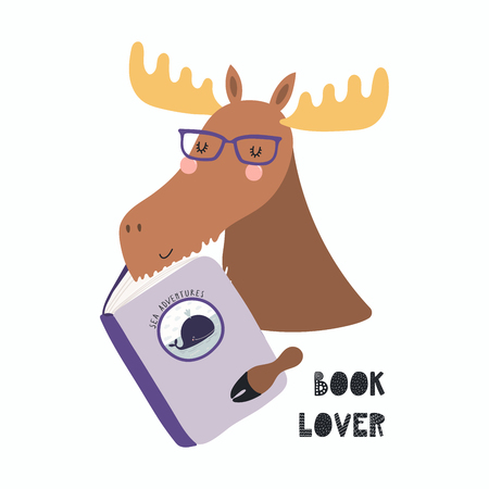 Hand drawn vector illustration of a cute funny moose reading a book, with quote Book lover. Isolated objects on white background. Scandinavian style flat design. Concept for children print.