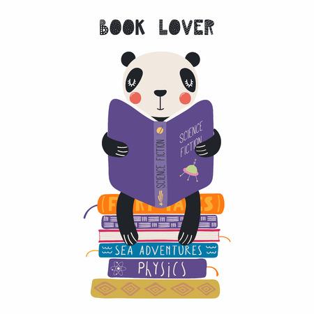 Illustration vectorielle dessinés à la main d'un panda drôle mignon lisant un livre, avec citation Amoureux des livres. Objets isolés sur fond blanc. Design plat de style scandinave. Concept pour l'impression des enfants. Vecteurs