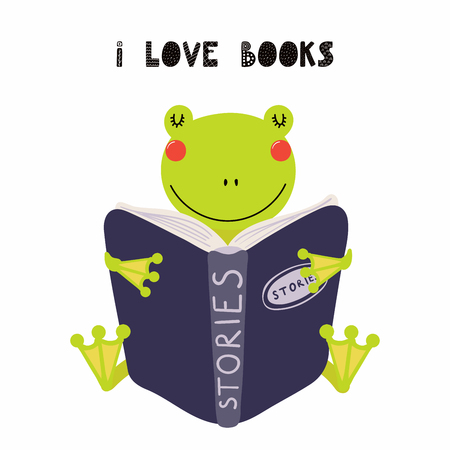 Hand drawn vector illustration of a cute funny frog reading a book, with quote I love books. Isolated objects on white background. Scandinavian style flat design. Concept for children print. Illustration