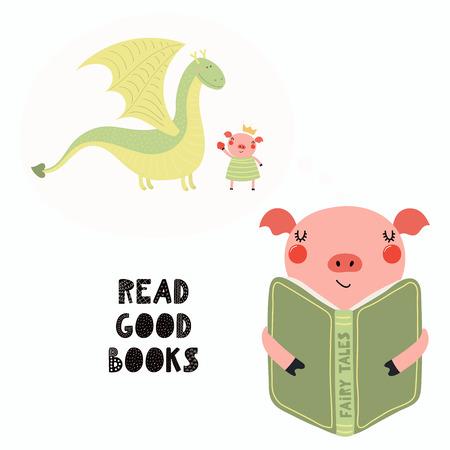 Handgezeichnete Vektor-Illustration eines niedlichen lustigen Schweins, das ein Buch liest, mit Zitat Gute Bücher lesen. Isolierte Objekte auf weißem Hintergrund. Flaches Design im skandinavischen Stil. Konzept für Kinderdruck.