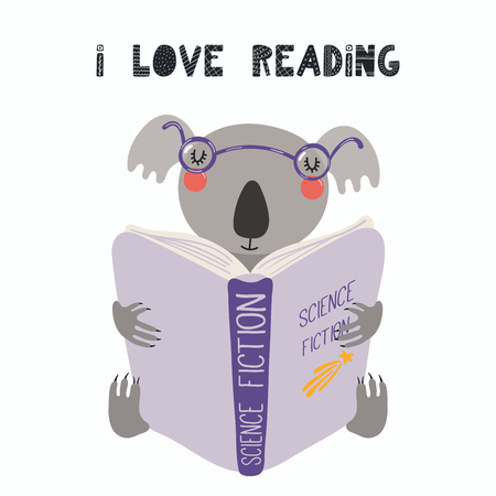 Hand drawn vector illustration of a cute funny koala reading a book, with quote I love reading. Isolated objects on white background. Scandinavian style flat design. Concept for children print. Illustration
