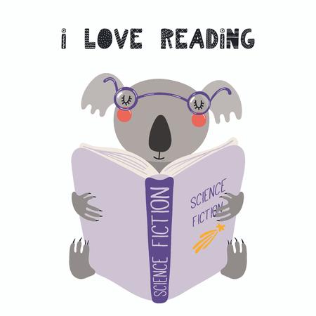 Ilustración de vector dibujado a mano de un lindo koala divertido leyendo un libro, con cita me encanta leer. Objetos aislados sobre fondo blanco. Diseño plano de estilo escandinavo. Concepto de impresión infantil.