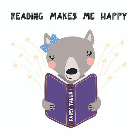 Hand drawn vector illustration of a cute funny wolf reading a book, with quote Reading makes me happy. Isolated objects on white background. Scandinavian style flat design. Concept for children print.