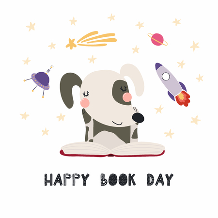 Hand drawn vector illustration of a cute funny dog reading a book, with quote Happy book day. Isolated objects on white background. Scandinavian style flat design. Concept for children print.  イラスト・ベクター素材