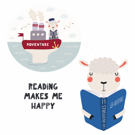 Hand drawn vector illustration of a cute funny sheep reading a book, with quote Reading makes me happy. Isolated objects on white background. Scandinavian style flat design. Concept for children print