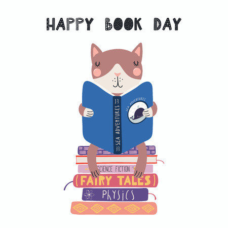 Hand drawn vector illustration of a cute funny cat reading a book, with quote Happy book day. Isolated objects on white background. Scandinavian style flat design. Concept for children print.