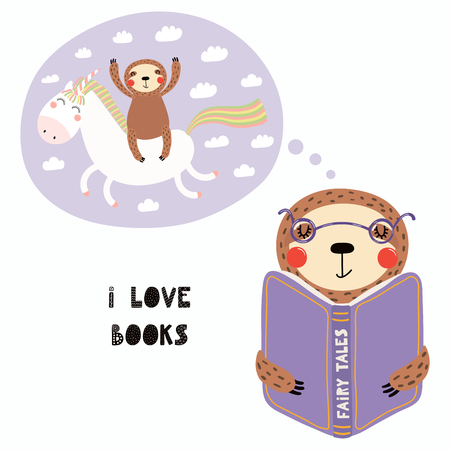 Hand drawn vector illustration of a cute funny sloth reading a book, with quote I love books. Isolated objects on white background. Scandinavian style flat design. Concept for children print.