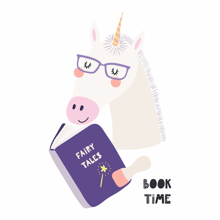 Hand drawn vector illustration of a cute funny unicorn reading a book, with quote Book time. Isolated objects on white background. Scandinavian style flat design. Concept for children print.