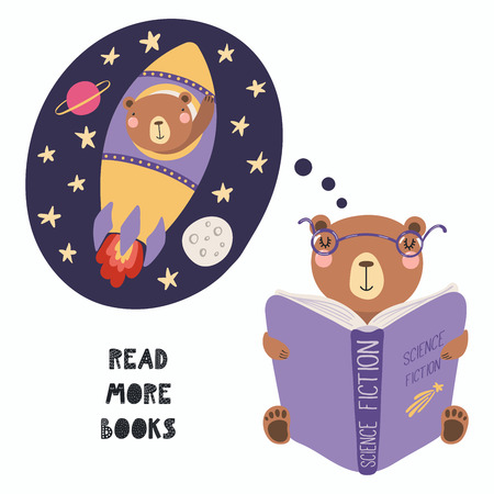 Hand drawn vector illustration of a cute funny bear reading a book, with quote Read more books. Isolated objects on white background. Scandinavian style flat design. Concept for children print. Illustration