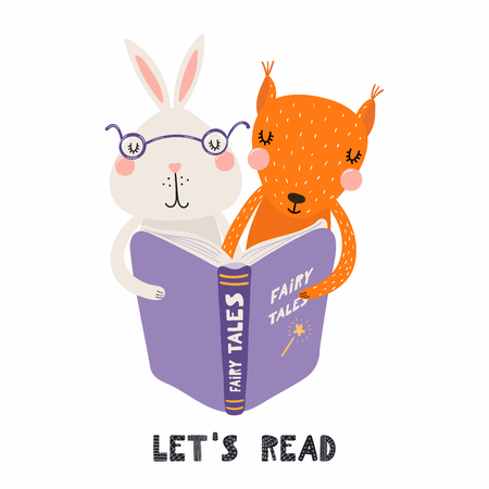 Hand drawn vector illustration of a cute funny bunny and squirrel reading a book, with quote Lets read. Isolated objects on white background. Scandinavian style flat design. Concept for children print Stock Illustratie