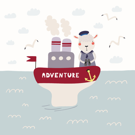 Hand drawn vector illustration of a cute funny sheep sailor on a steamboat. Childish ocean landscape with seagulls, clouds, waves. Scandinavian style flat design. Concept for children print.