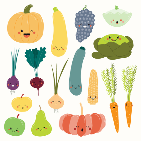 Big set of cute funny fruits and vegetables with kawaii faces. Isolated objects on white background. Hand drawn vector illustration. Flat style design. Concept for autumn harvest, healthy food. Zdjęcie Seryjne - 111923871