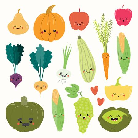 Großes Set süßer, lustiger Früchte und Gemüse mit Kawaii-Gesichtern. Isolierte Objekte auf weißem Hintergrund. Handgezeichnete Vektor-Illustration. Flaches Design. Konzept für die Herbsternte, gesunde Ernährung.
