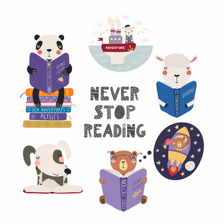 Set of cute funny animals with books, bear, panda, sheep, dog, with quote. Isolated objects on white background. Hand drawn vector illustration. Scandinavian style flat design. Concept children print.