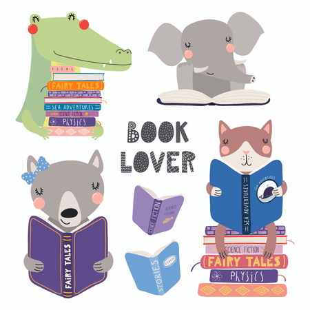 Set of cute funny animals with books, cat, wolf, crocodile, elephant, with quote. Isolated objects on white. Hand drawn vector illustration. Scandinavian style flat design. Concept for children print.