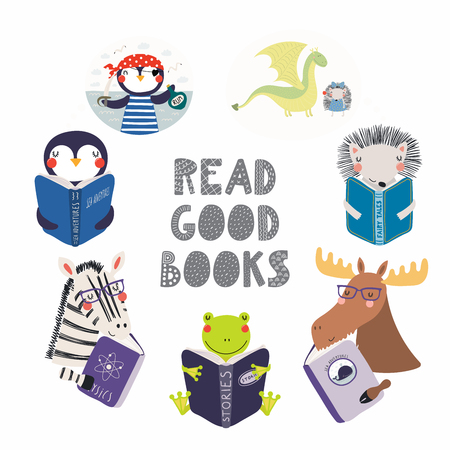 Set of cute funny animals with books, zebra, penguin, frog, moose, hedgehog. Isolated objects on white background. Hand drawn vector illustration. Scandinavian style flat design. Concept kids print.