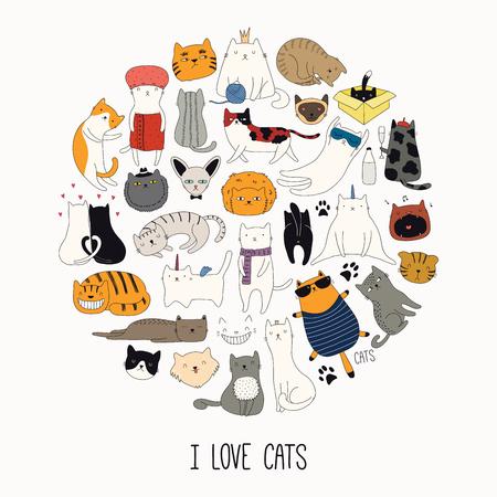 Conjunto de lindos garabatos divertidos de diferentes gatos, en un diseño de círculo, con cita Me encantan los gatos. Objetos aislados. Ilustración de vector dibujado a mano. Dibujo lineal. Cartel de concepto de diseño, camiseta, estampado de moda.