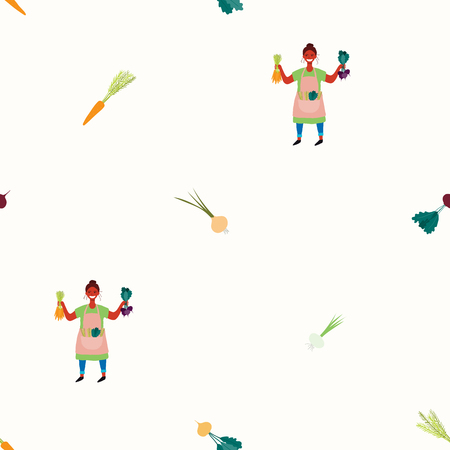 Seamless repeat pattern with cute beautiful woman picking beets and carrots. Hand drawn vector illustration. Flat style design. Concept for autumn harvest, textile print, wallpaper, wrapping paper.
