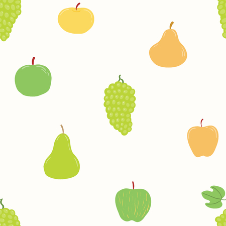 Seamless repeat pattern with apples, pears, grapes. Hand drawn vector illustration. Flat style design. Concept for autumn harvest, healthy eating, textile print, wallpaper, wrapping paper. Ilustracja