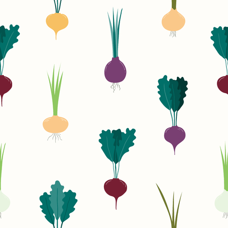 Seamless repeat pattern with root vegetables, beet, carrot, onion, radish. Hand drawn vector illustration. Flat style design. Concept for fall harvest, healthy eating, textile print, wrapping paper.