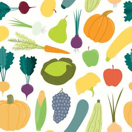 Seamless repeat pattern with different fruits and vegetables. Hand drawn vector illustration. Flat style design. Concept for autumn harvest, healthy eating, textile print, wallpaper, wrapping paper.